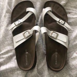 White Madden Girl Sandals Size 10